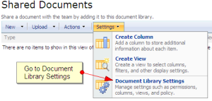 Select Document Library Settings from the Settings drop-down