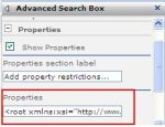 Advanced Search web part XML Properties
