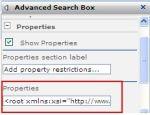Advanced Search web part XML Properties